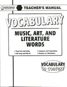 Music, Art and Literature Words